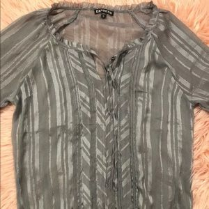 Express Women's sheer blouse grey size medium